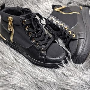 Black and gold zip-up Aldo high top sneakers